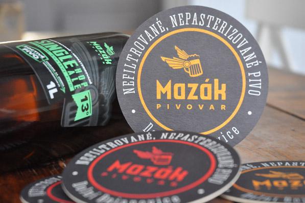Logo Mazák - láhev, pivní tácek